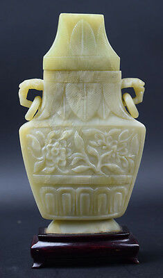 Antique Chinese Nature Soap Stone Carved Vase on the wooden stand