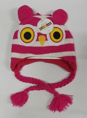 Nuzzles Pink Hootie Owl Beanie And Mittens Set Nwt Toddler 2-5 Ear Muff Flap Ski