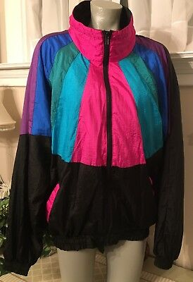 Vintage 80's/90's Nylon Tracksuit Jacket, by Basic Rituals, XL Ladies
