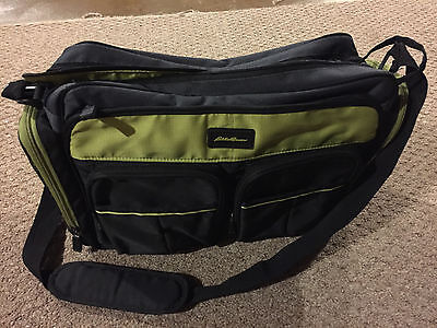 Eddie Bauer Easy Access Duffle Diaper Bag - Black & Green in Great Condition!