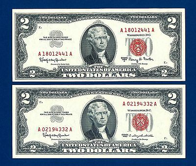 1963 A  & 1963   $2  Two Dollar Bill  Red Seal Legal Tender Notes  Uncirculated