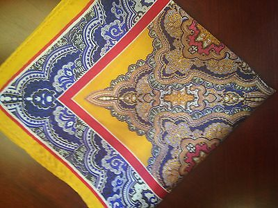 "New 14"" Satin Silk Pocket Square Hankie  Navy Red Gold Brown Paisley ""Diplomat"""