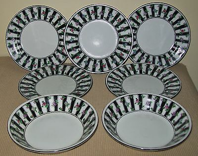 "VINTAGE 7pc ""CROWN STAFFORDSHIRE"" SERVING PIECES (side plates/bowls)"