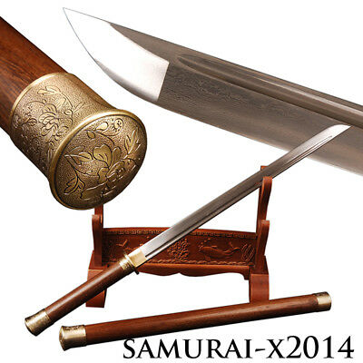 "Collectibles Engrooved Chinese Tang sword ""唐刀"" Folded steel Rosewood saya&handle"