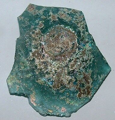 ancient roman glass fragment with  nice patina amazing.