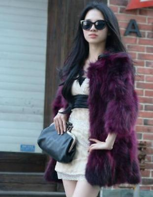 Womens Real Fur Round Neck 3/4 Sleeves Parka Winter Warm Jacket Outerwear I442