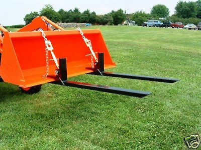 Front End Loader Bucket Pallet Forks Fork  w/ Chain & Turnbuckle 4000#