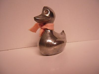 Leonard Company Vintage Silverplate Duck Bank, With Original Pink Scarf