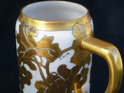 ~ GORGEOUS & Elegant ~ Belleek TANKARD Mug ~ Grapes & Gold ~ Art Nouveau