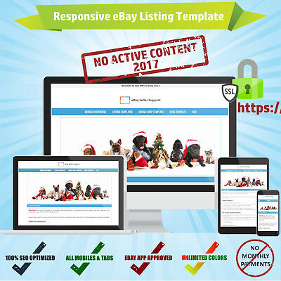 HTTPS Mobile Responsive eBay Listing Auction Template HTML w/o Active Content