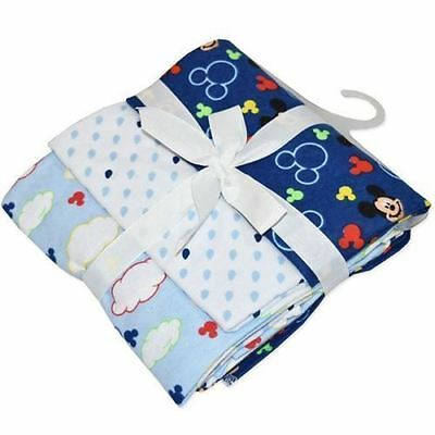 DISNEY BABY MICKEY  MOUSE BLUE SOFT WRAPS 3 PACK 73cms x 73CMS