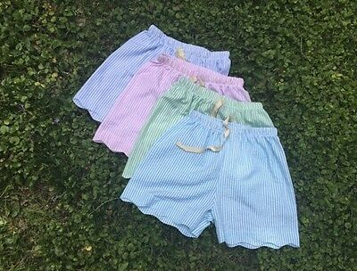 Lot ($1 /pair!) Ladies Blank Monogrammable Scallop Seersucker Shorts Sizes S-XL
