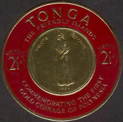 Tonga 1963 SG138 2/1d Airmail Stamp of Gold Coinage of Polynesia MNH