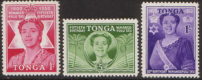 Tonga 1950 SG92 50th Birthday of Queen Salote set MLH