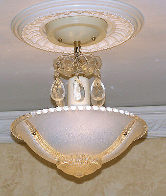 149b Vintage aRT DEco CEILING LIGHT chandelier fixture glass shade blue 1 of 2
