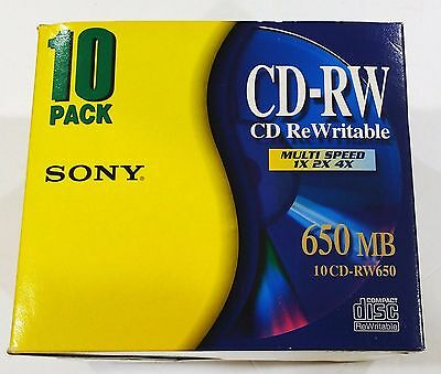 New 10 pack Sony CD-RW650 Rewritable CD's-650 MB, Multi speed-New!