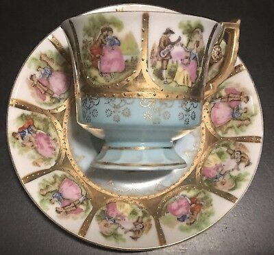 Vtg Victorian Saucer And Cup With Couple Courting Scene #7552
