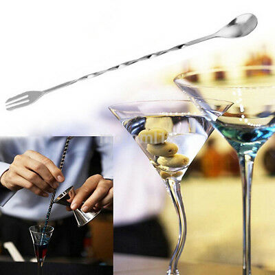 Multifunction Silver Tone Bar Twist Long Handle Mixing Stirring Spoon Fork Hot