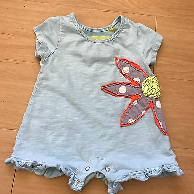 Baby Girl's Red Egg And Ginger Blue Floral One Piece Ruffle Outfit Size 6-9m