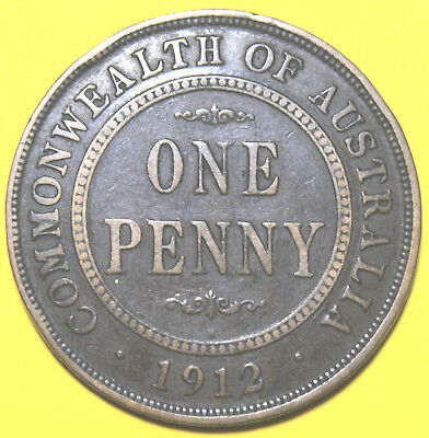 1912 H  KGV  - AUSTRALIAN PENNY - Rare -  Circulated Coin,  Great Investment