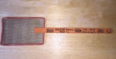 Vtg Wire Mesh Cloth Wood Fly Swatter Keller Bros Ford Ad Buffalo Springs PA