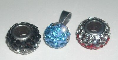 Stainless Steel Lot of 3 Pendants w/ Cz Stones - New!