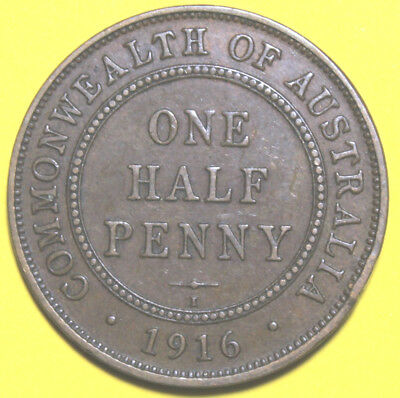 1916 I - AUSTRALIAN HALF PENNY  -  Circulated  KGV  Coin,  Great Investment