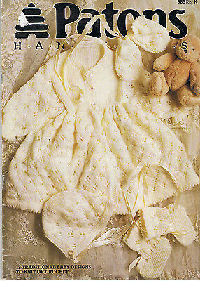 Patons No 985 HAND KNITS FOR BABY 12 traditional baby designs to knit or crochet