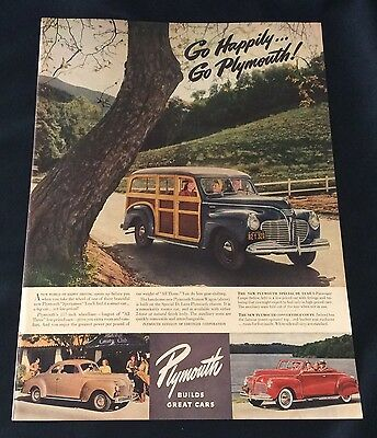 1941 Plymouth Sportsman Station Wagon, 4-Pass. Coupe & Convertible Vtg. Print Ad
