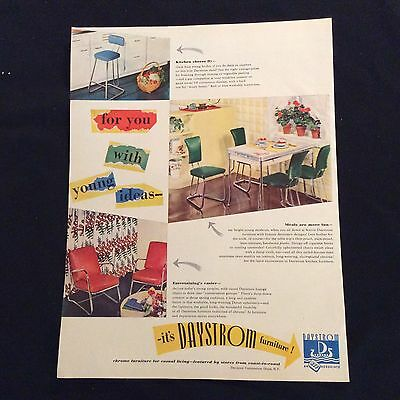 1947 Daystrom Furniture Original Print Ad - Stools, Chairs & Tables