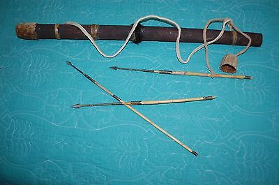 Antique Old Africa African Bushman Quiver & 3 Arrow Various Sizes Six Flags Exec
