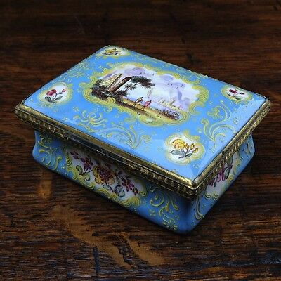South Staffordshire enamel snuff box, pale blue ground with panels of scenes and
