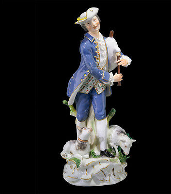 Meissen figure of a piping shepherd, J. J. Kandler, c. 1755