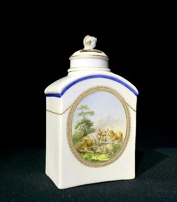Meissen tea canister & cover, sheep & cows, c. 1775
