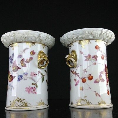 Pair of Coalport vases with birdshead handles, strawberries, c. 1830