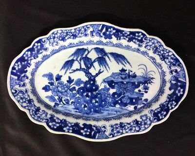 Chinese Export oval serving dish, scholars desk & willow, c. 1760
