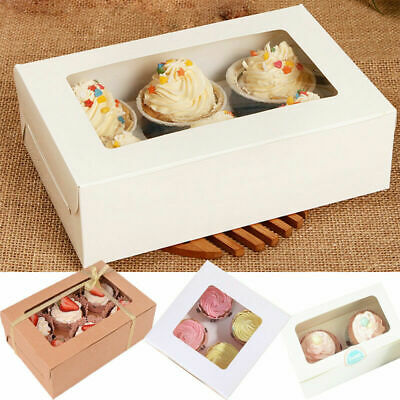 1/10pcs 2/4/6 Holes Cupcake Cookies Fairy Cake Muffin Boxes Clear Window Gift