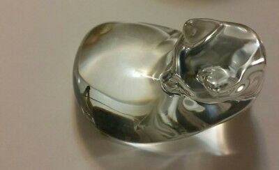 Baccarat France Retired Clear Crystal Reclining Cat Figurine/Paperweight Signed
