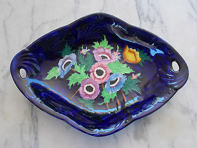 Vintage Art Deco MALING Lustre Bowl Deep Blue with Multi Colour Embossed Peonies