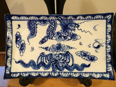 Vintage Chinese Blue White Porcelain Plate