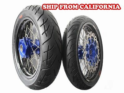 4.25*17 Suzuki Dr650Se Supermoto Motard Cush Wheels Rim Set Tire Tyre 1996-2016