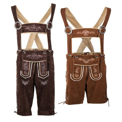 Authentic Mens German Bavarian Lederhosen Suspenders Shorts Oktoberfest Costume