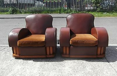 Pair Of Art Deco Leatherette Club Armchairs    Delivery Available