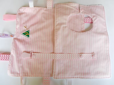 Taggie, Bib and Dummy Clip Handmade in Pink Stripes