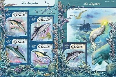 Z08 DJB16107ab DJIBOUTI 2016 Dolphins Imperforated Set