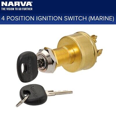Narva 4 Position Ignition Switch Brass Spring Return and 2 Keys 12V Marine 64012