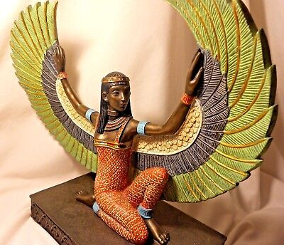 "Ancient Egyptian Winged Goddess Bronze & Resin Statue Sculpture Museum 10"" Isis"
