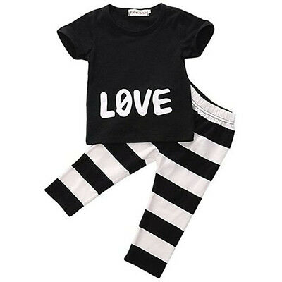 Baby Boys Short Sleeve Outfits T-shirt Tops+ pants 2pcs Clothes Set 6-9 Months