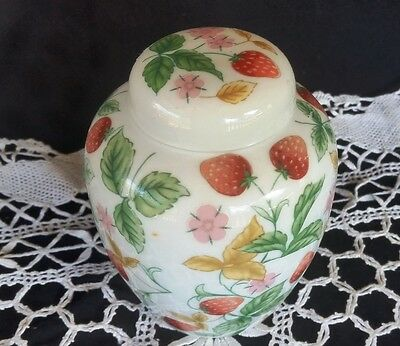 Ginger Jar - Hand Painted Stawberry floral design shabby chic made in china