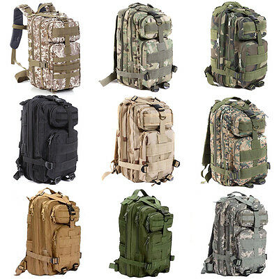 30L Hiking Camping Bags Army Military Tactical Trekking Rucksack Backpack Camo*
